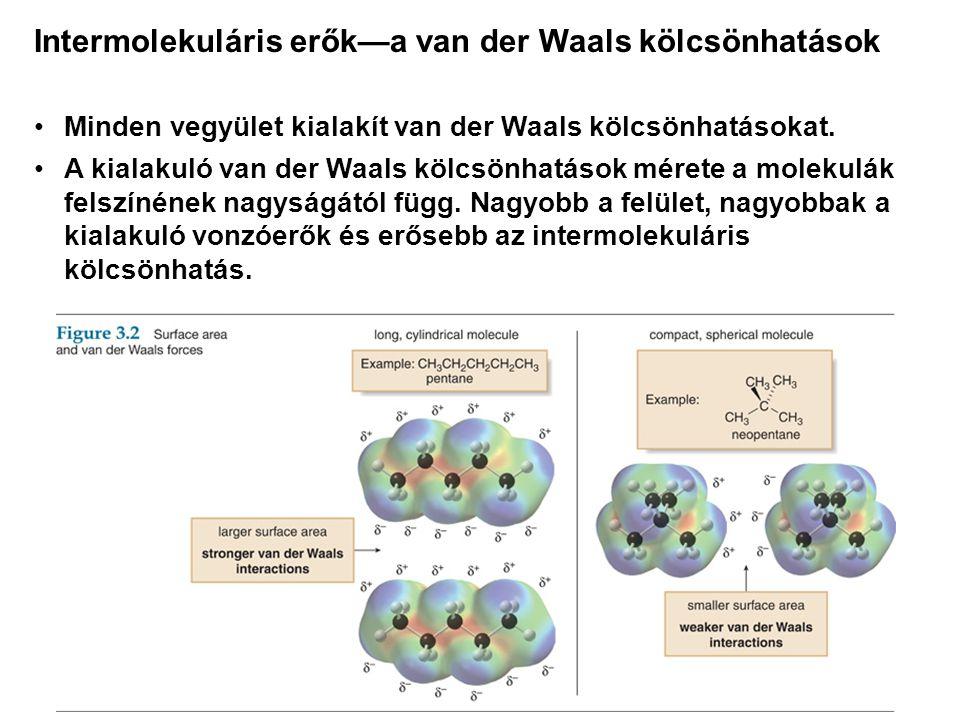 •Minden vegyület kialakít van der Waals kölcsönhatásokat. •A kialakuló van der Waals kölcsönhatások mérete a molekulák felszínének nagyságától függ. N