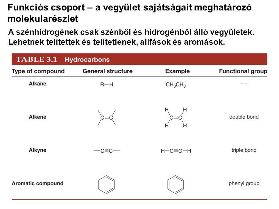 Funkciós csoport – a vegyület sajátságait meghatározó molekularészlet A szénhidrogének csak szénből és hidrogénből álló vegyületek. Lehetnek telítette