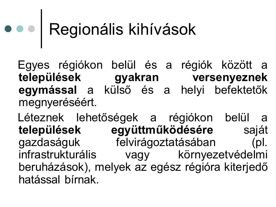 Regionális kihívások Egyes régiókon belül és a régiók között a települések gyakran versenyeznek egymással a külső és a helyi befektetők megnyeréséért.