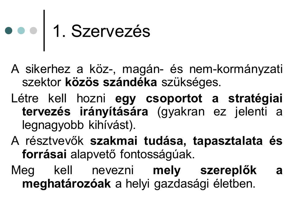 1.Szervezés A sikerhez a köz-, magán- és nem-kormányzati szektor közös szándéka szükséges.