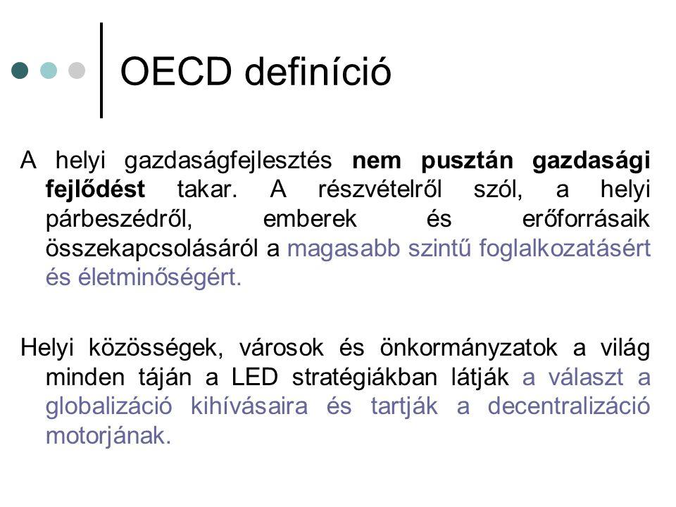 OECD definíció A helyi gazdaságfejlesztés nem pusztán gazdasági fejlődést takar.