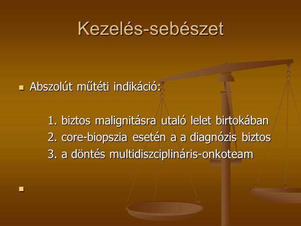 Kezelés-sebészet  Abszolút műtéti indikáció: 1. biztos malignitásra utaló lelet birtokában 1. biztos malignitásra utaló lelet birtokában 2. core-biop