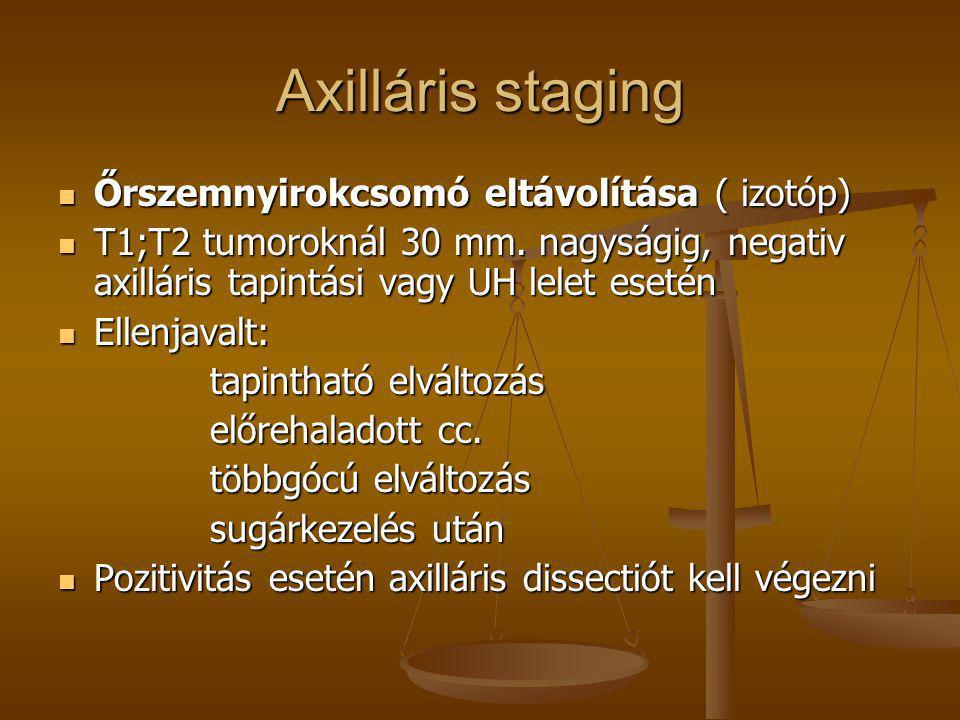 Axilláris staging  Őrszemnyirokcsomó eltávolítása ( izotóp)  T1;T2 tumoroknál 30 mm. nagyságig, negativ axilláris tapintási vagy UH lelet esetén  E