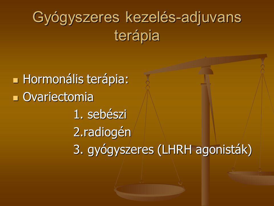 Gyógyszeres kezelés-adjuvans terápia  Hormonális terápia:  Ovariectomia 1. sebészi 1. sebészi 2.radiogén 2.radiogén 3. gyógyszeres (LHRH agonisták)