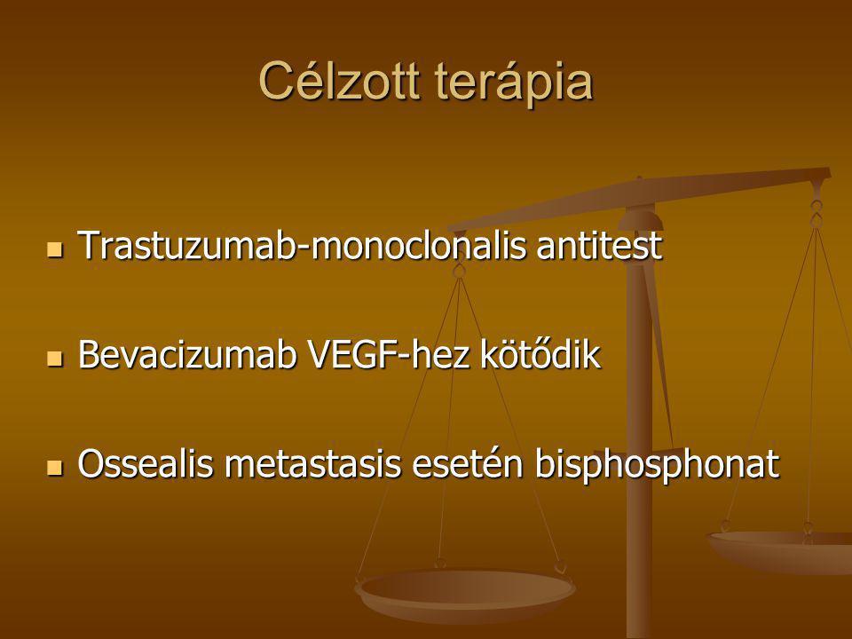 Célzott terápia  Trastuzumab-monoclonalis antitest  Bevacizumab VEGF-hez kötődik  Ossealis metastasis esetén bisphosphonat