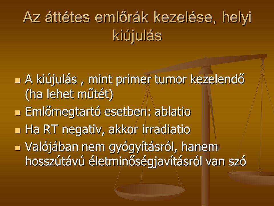 Az áttétes emlőrák kezelése, helyi kiújulás  A kiújulás, mint primer tumor kezelendő (ha lehet műtét)  Emlőmegtartó esetben: ablatio  Ha RT negativ