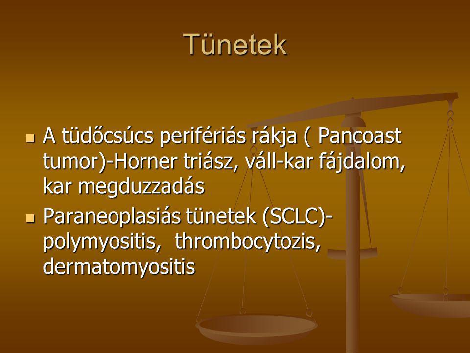 Tünetek  A tüdőcsúcs perifériás rákja ( Pancoast tumor)-Horner triász, váll-kar fájdalom, kar megduzzadás  Paraneoplasiás tünetek (SCLC)- polymyosit