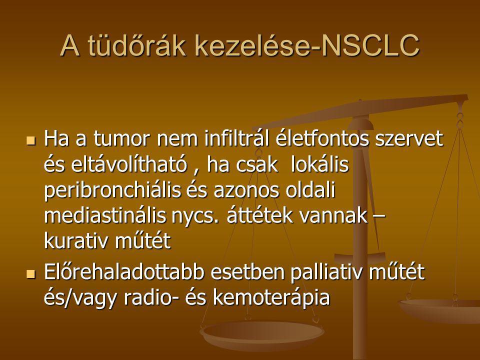 A tüdőrák kezelése-NSCLC  Ha a tumor nem infiltrál életfontos szervet és eltávolítható, ha csak lokális peribronchiális és azonos oldali mediastináli