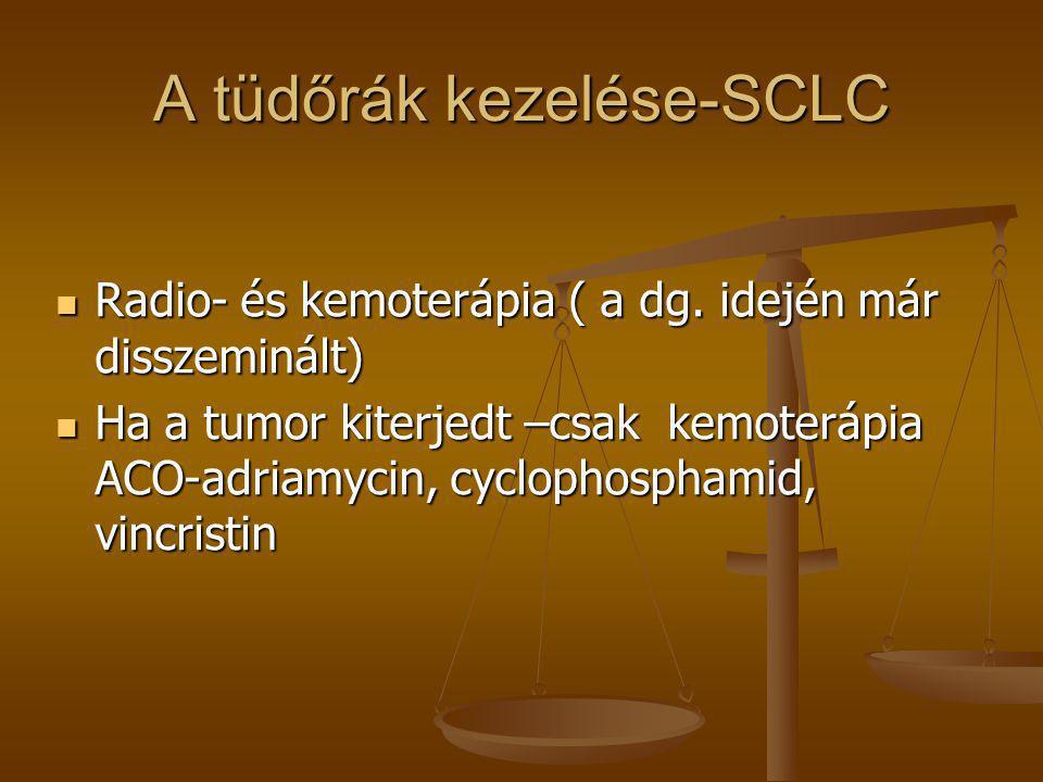 A tüdőrák kezelése-SCLC  Radio- és kemoterápia ( a dg. idején már disszeminált)  Ha a tumor kiterjedt –csak kemoterápia ACO-adriamycin, cyclophospha
