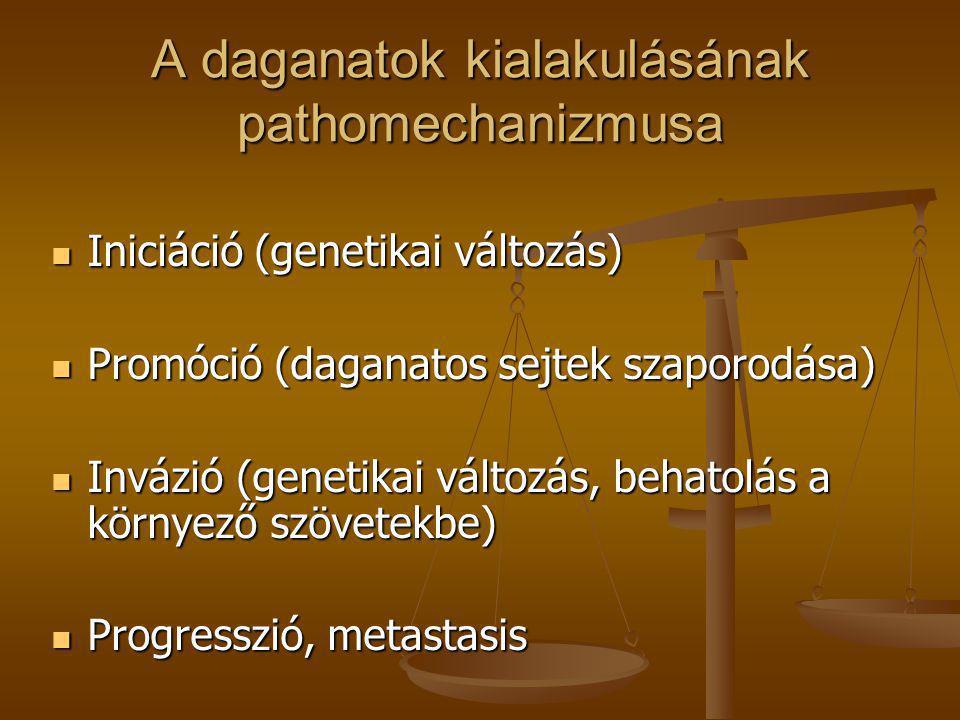 A daganatok kialakulásának pathomechanizmusa  Iniciáció (genetikai változás)  Promóció (daganatos sejtek szaporodása)  Invázió (genetikai változás,