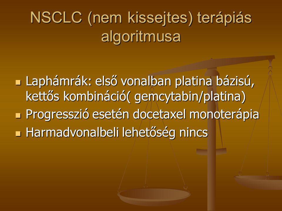 NSCLC (nem kissejtes) terápiás algoritmusa  Laphámrák: első vonalban platina bázisú, kettős kombináció( gemcytabin/platina)  Progresszió esetén doce