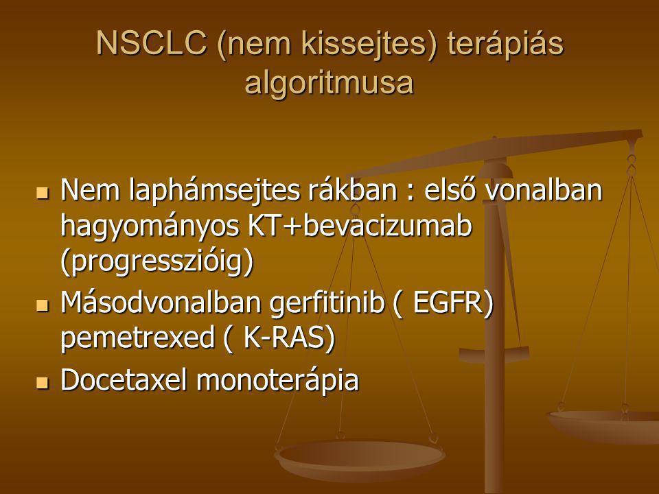 NSCLC (nem kissejtes) terápiás algoritmusa  Nem laphámsejtes rákban : első vonalban hagyományos KT+bevacizumab (progresszióig)  Másodvonalban gerfit