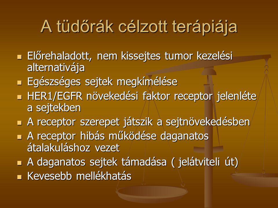 A tüdőrák célzott terápiája  Előrehaladott, nem kissejtes tumor kezelési alternativája  Egészséges sejtek megkímélése  HER1/EGFR növekedési faktor