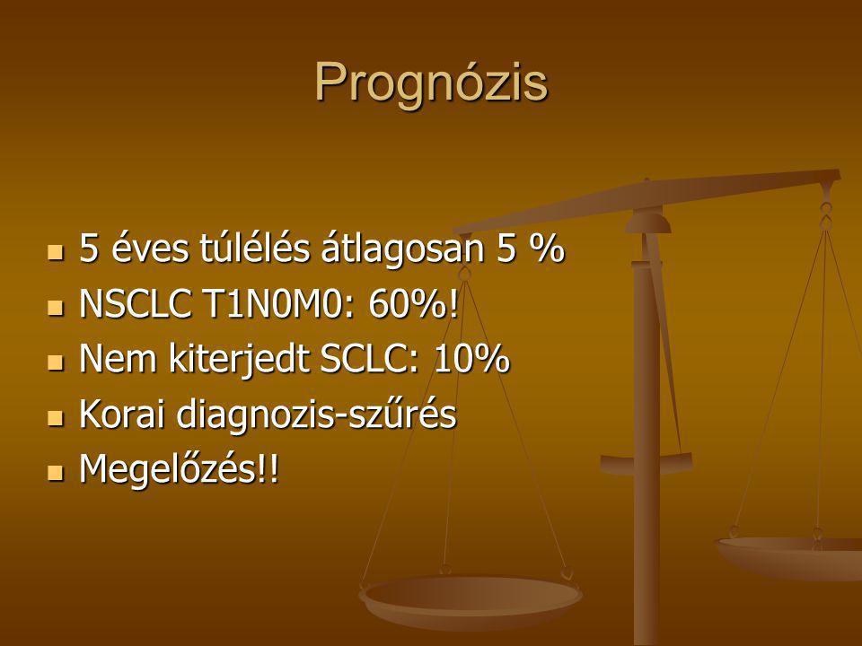 Prognózis  5 éves túlélés átlagosan 5 %  NSCLC T1N0M0: 60%!  Nem kiterjedt SCLC: 10%  Korai diagnozis-szűrés  Megelőzés!!