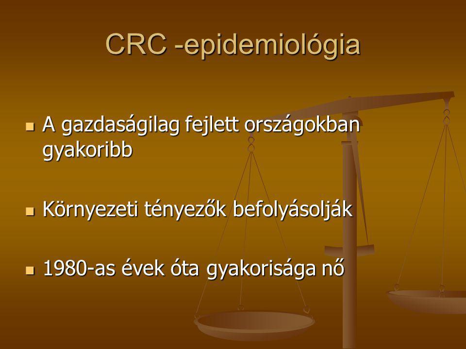 CRC -epidemiológia  A gazdaságilag fejlett országokban gyakoribb  Környezeti tényezők befolyásolják  1980-as évek óta gyakorisága nő