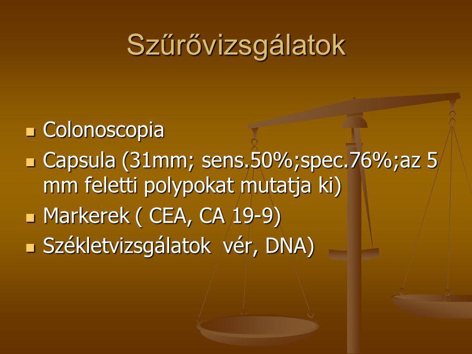 Szűrővizsgálatok  Colonoscopia  Capsula (31mm; sens.50%;spec.76%;az 5 mm feletti polypokat mutatja ki)  Markerek ( CEA, CA 19-9)  Székletvizsgálat