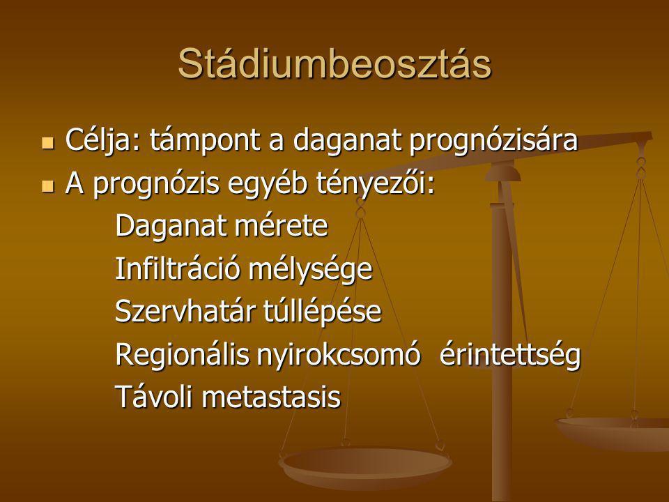 Stádiumbeosztás  Célja: támpont a daganat prognózisára  A prognózis egyéb tényezői: Daganat mérete Daganat mérete Infiltráció mélysége Infiltráció m