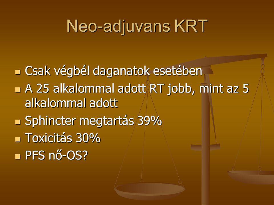 Neo-adjuvans KRT  Csak végbél daganatok esetében  A 25 alkalommal adott RT jobb, mint az 5 alkalommal adott  Sphincter megtartás 39%  Toxicitás 30