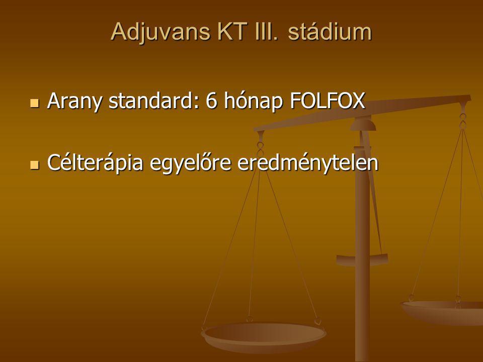 Adjuvans KT III. stádium  Arany standard: 6 hónap FOLFOX  Célterápia egyelőre eredménytelen