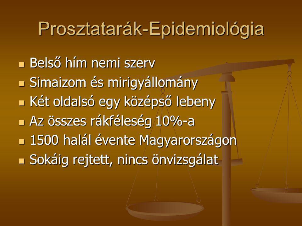 Prosztatarák-Epidemiológia  Belső hím nemi szerv  Simaizom és mirigyállomány  Két oldalsó egy középső lebeny  Az összes rákféleség 10%-a  1500 ha