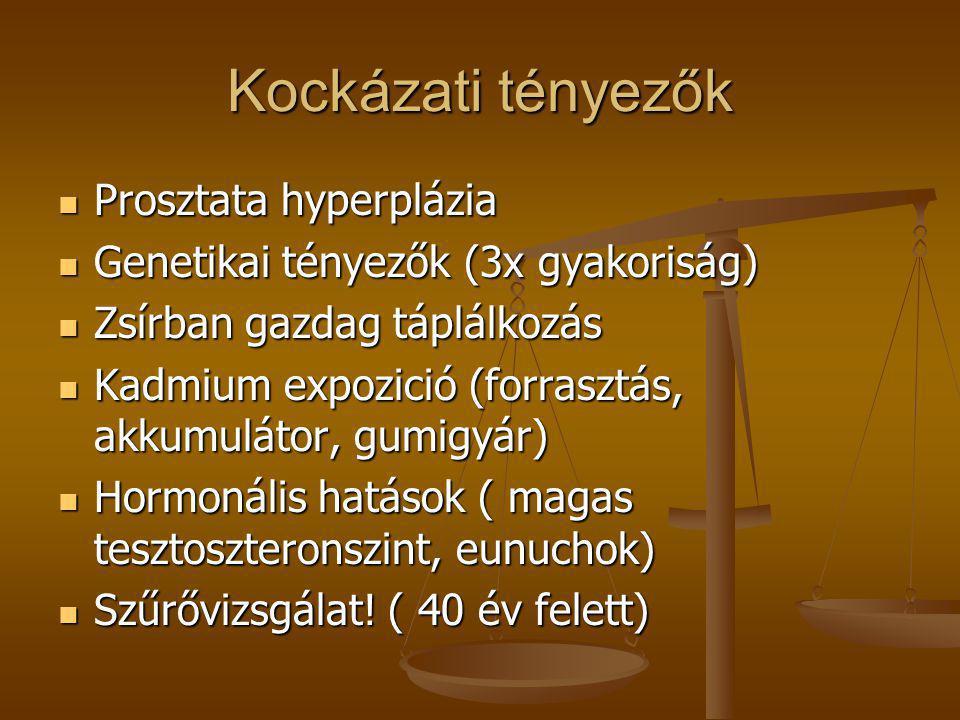 Kockázati tényezők  Prosztata hyperplázia  Genetikai tényezők (3x gyakoriság)  Zsírban gazdag táplálkozás  Kadmium expozició (forrasztás, akkumulá