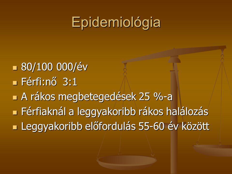 Epidemiológia  80/100 000/év  Férfi:nő 3:1  A rákos megbetegedések 25 %-a  Férfiaknál a leggyakoribb rákos halálozás  Leggyakoribb előfordulás 55