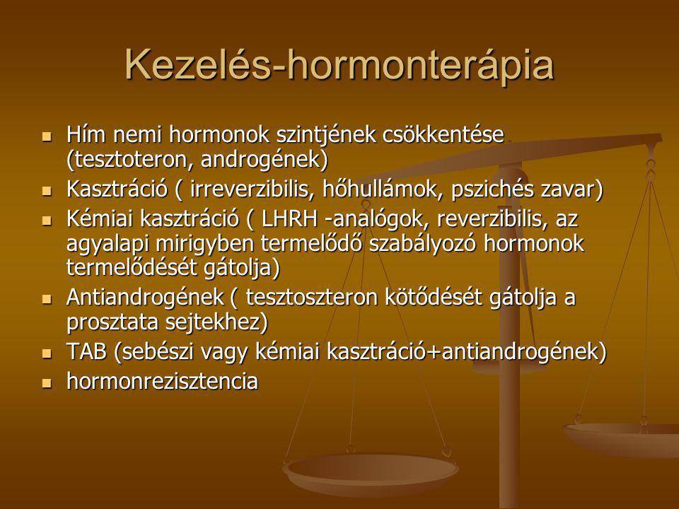 Kezelés-hormonterápia  Hím nemi hormonok szintjének csökkentése (tesztoteron, androgének)  Kasztráció ( irreverzibilis, hőhullámok, pszichés zavar)