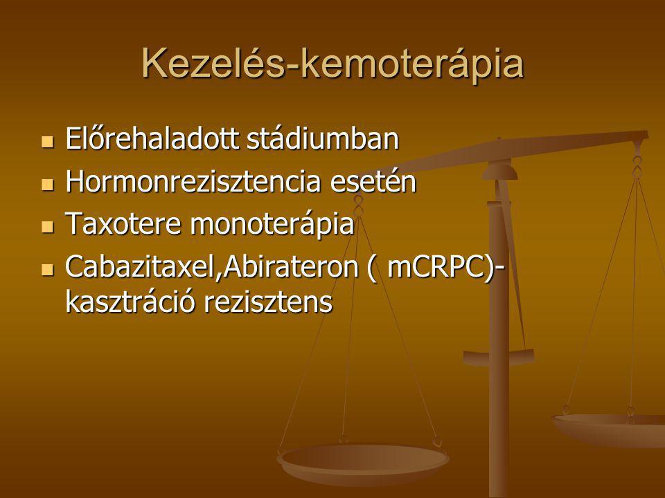 Kezelés-kemoterápia  Előrehaladott stádiumban  Hormonrezisztencia esetén  Taxotere monoterápia  Cabazitaxel,Abirateron ( mCRPC)- kasztráció rezisz