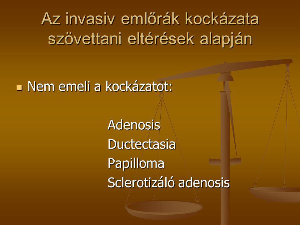 Az invasiv emlőrák kockázata szövettani eltérések alapján  Nem emeli a kockázatot: Adenosis Adenosis Ductectasia Ductectasia Papilloma Papilloma Scle