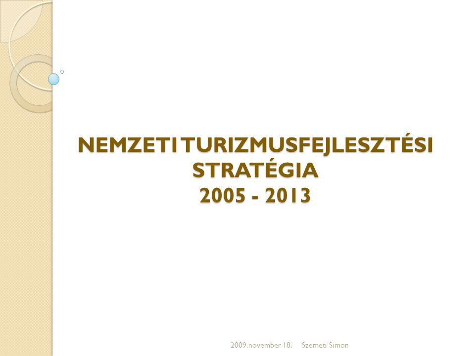 NEMZETI TURIZMUSFEJLESZTÉSI STRATÉGIA 2005 - 2013 2009.november 18.Szemeti Simon