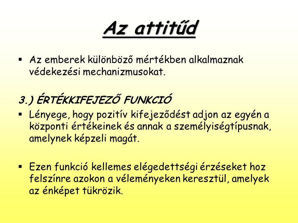 Az attitűd  Az emberek különböző mértékben alkalmaznak védekezési mechanizmusokat. 3.) ÉRTÉKKIFEJEZŐ FUNKCIÓ  Lényege, hogy pozitív kifejeződést adj