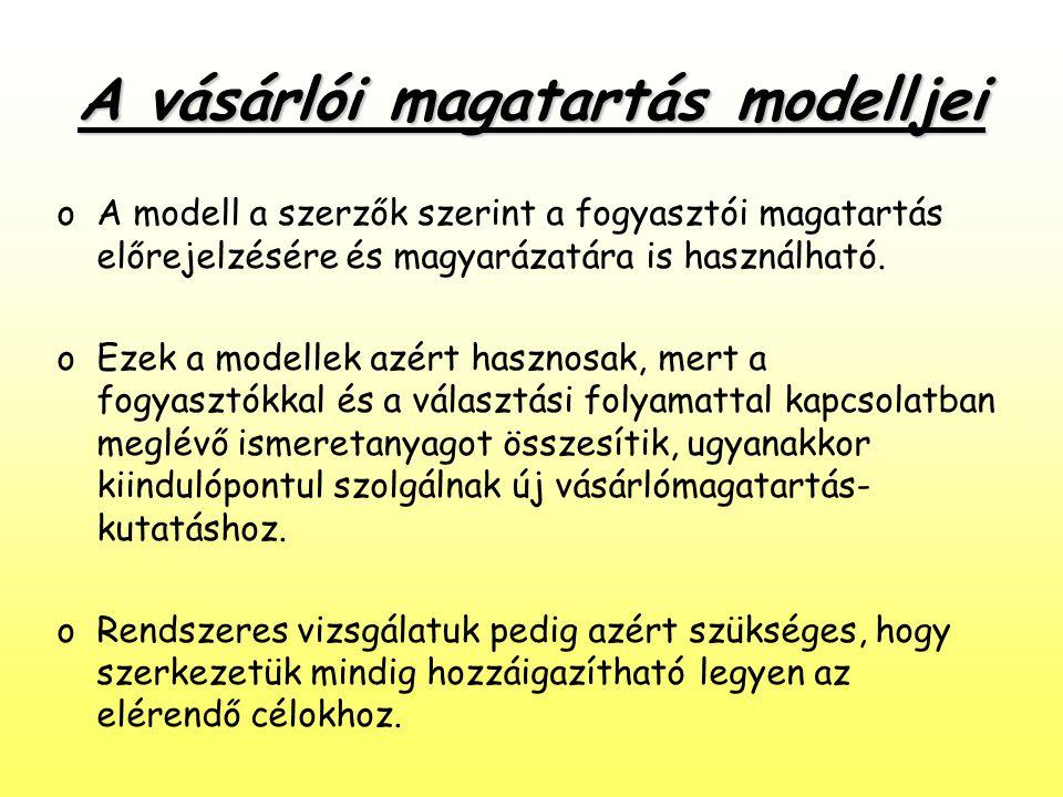 A vásárlói magatartás modelljei oA modell a szerzők szerint a fogyasztói magatartás előrejelzésére és magyarázatára is használható. oEzek a modellek a
