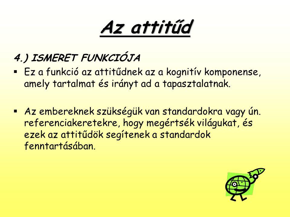 Az attitűd 4.) ISMERET FUNKCIÓJA  Ez a funkció az attitűdnek az a kognitív komponense, amely tartalmat és irányt ad a tapasztalatnak.  Az embereknek