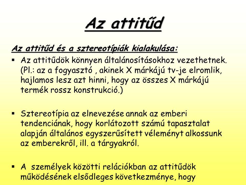 Az attitűd Az attitűd és a sztereotípiák kialakulása:  Az attitűdök könnyen általánosításokhoz vezethetnek. (Pl.: az a fogyasztó, akinek X márkájú tv