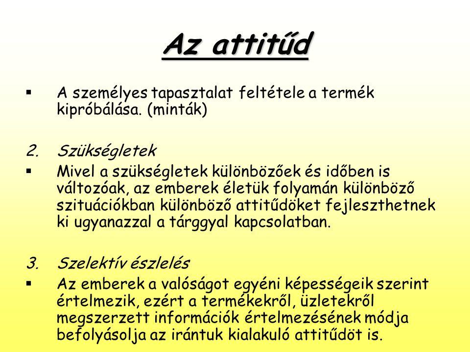 Az attitűd  A személyes tapasztalat feltétele a termék kipróbálása. (minták) 2.Szükségletek  Mivel a szükségletek különbözőek és időben is változóak