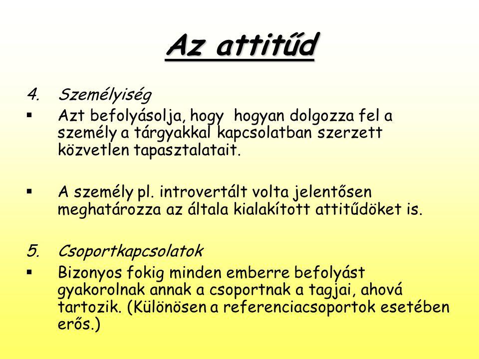 Az attitűd 4.Személyiség  Azt befolyásolja, hogy hogyan dolgozza fel a személy a tárgyakkal kapcsolatban szerzett közvetlen tapasztalatait.  A szemé