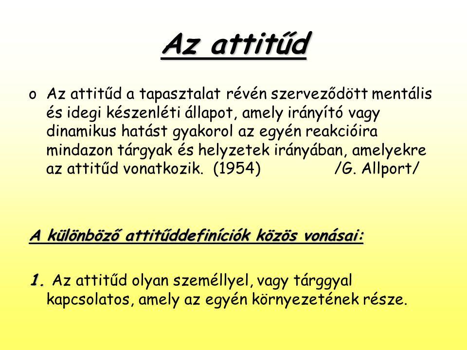 Az attitűd oAz attitűd a tapasztalat révén szerveződött mentális és idegi készenléti állapot, amely irányító vagy dinamikus hatást gyakorol az egyén r