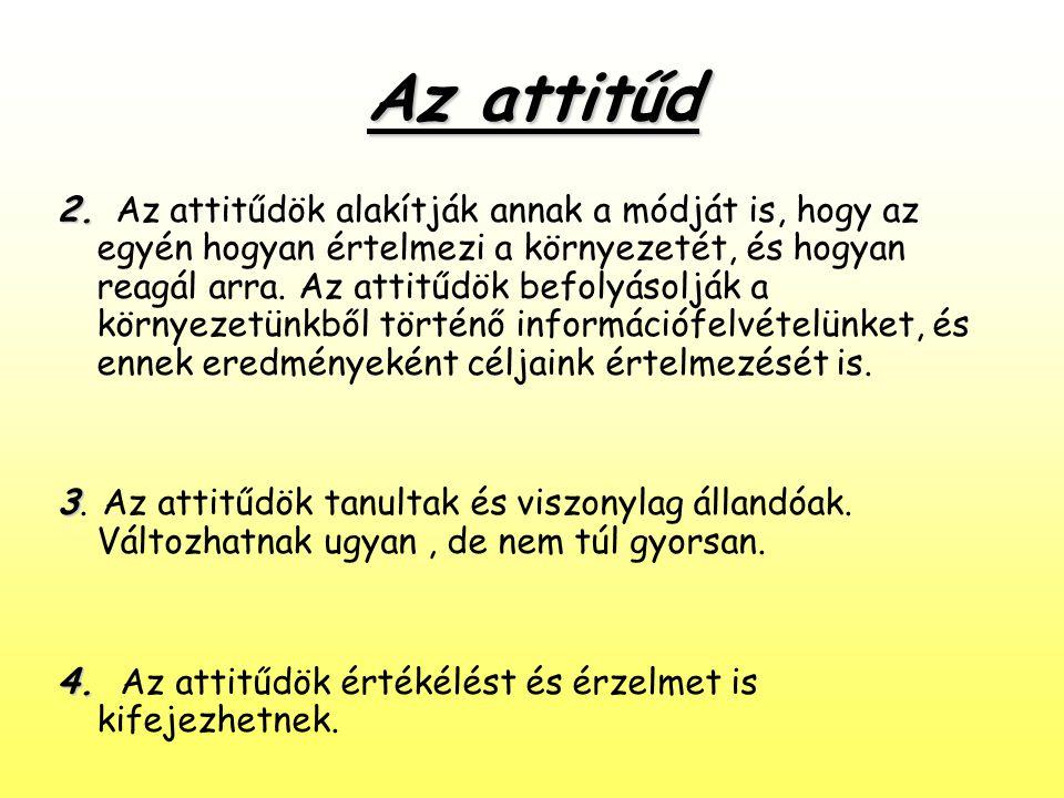 Az attitűd 2. 2. Az attitűdök alakítják annak a módját is, hogy az egyén hogyan értelmezi a környezetét, és hogyan reagál arra. Az attitűdök befolyáso