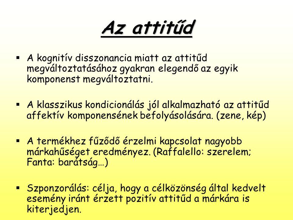 Az attitűd  A kognitív disszonancia miatt az attitűd megváltoztatásához gyakran elegendő az egyik komponenst megváltoztatni.  A klasszikus kondicion