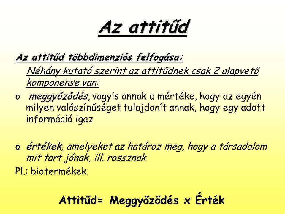 Az attitűd Az attitűd többdimenziós felfogása: Néhány kutató szerint az attitűdnek csak 2 alapvető komponense van: meggyőződés o meggyőződés, vagyis a