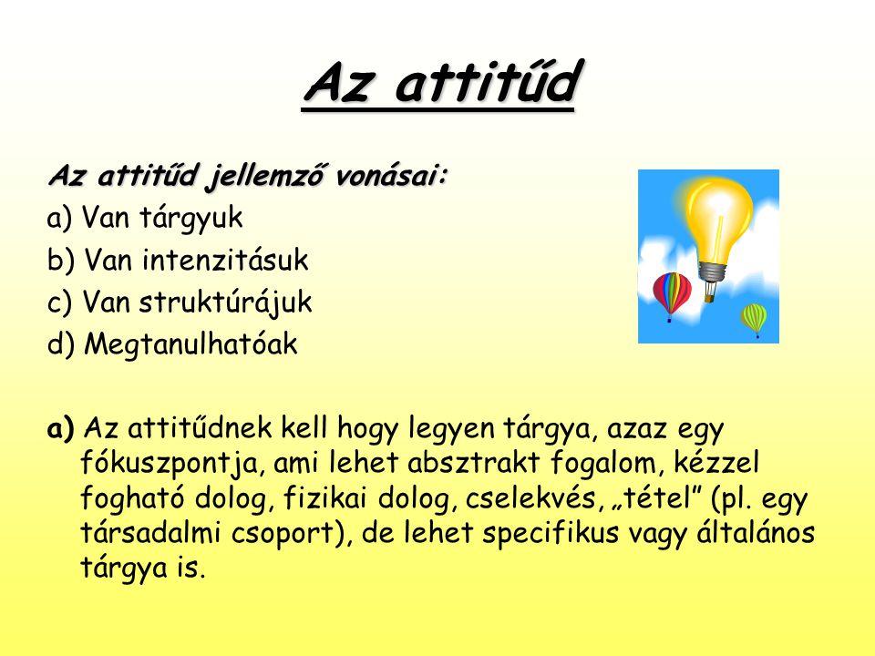 Az attitűd Az attitűd jellemző vonásai: a) Van tárgyuk b) Van intenzitásuk c) Van struktúrájuk d) Megtanulhatóak a) Az attitűdnek kell hogy legyen tár