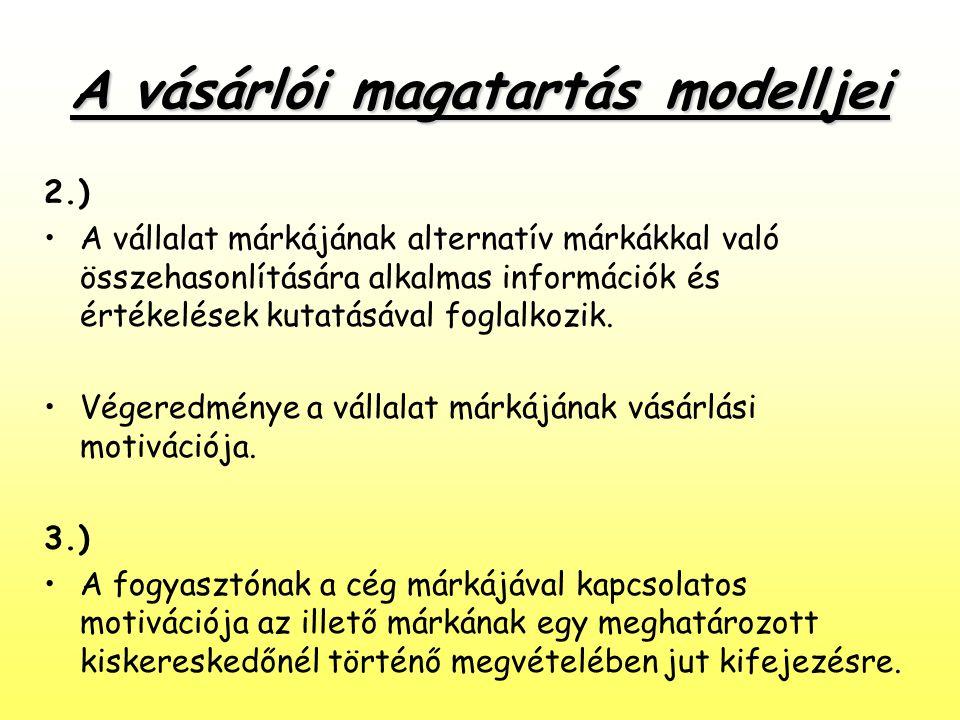 A vásárlói magatartás modelljei 2.) •A vállalat márkájának alternatív márkákkal való összehasonlítására alkalmas információk és értékelések kutatásáva
