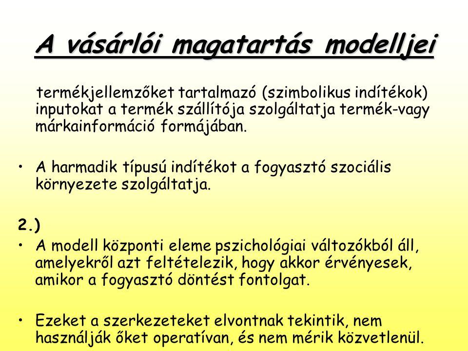 A vásárlói magatartás modelljei termékjellemzőket tartalmazó (szimbolikus indítékok) inputokat a termék szállítója szolgáltatja termék-vagy márkainfor
