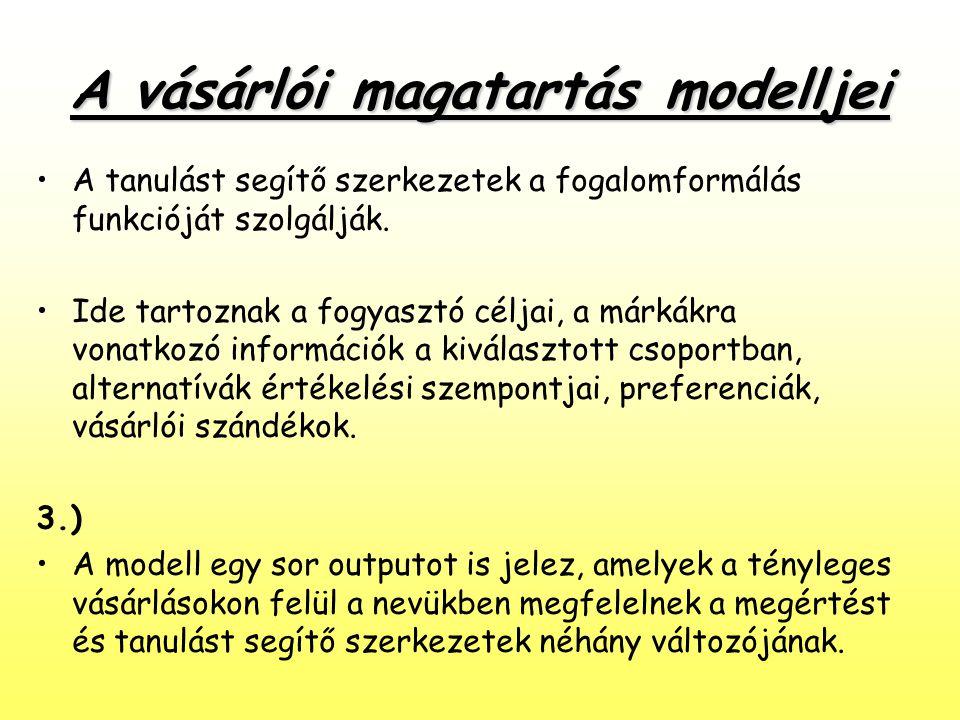 A vásárlói magatartás modelljei •A tanulást segítő szerkezetek a fogalomformálás funkcióját szolgálják. •Ide tartoznak a fogyasztó céljai, a márkákra