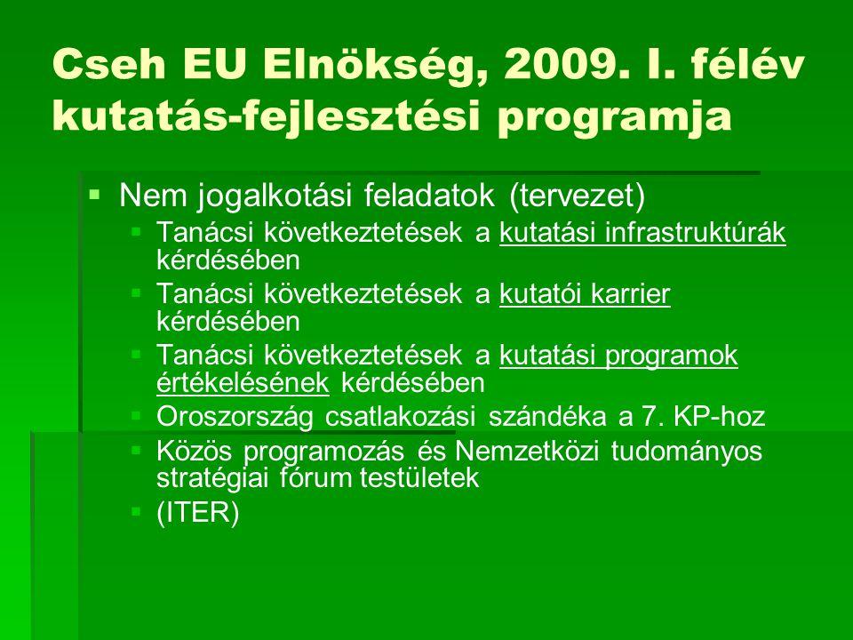 Cseh EU Elnökség, 2009. I. félév kutatás-fejlesztési programja   Nem jogalkotási feladatok (tervezet)   Tanácsi következtetések a kutatási infrast