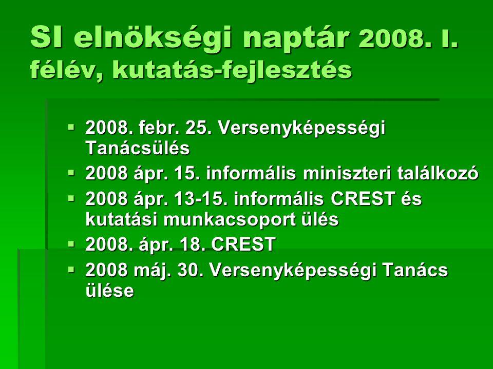 SI elnökségi naptár 2008. I. félév, kutatás-fejlesztés  2008. febr. 25. Versenyképességi Tanácsülés  2008 ápr. 15. informális miniszteri találkozó 