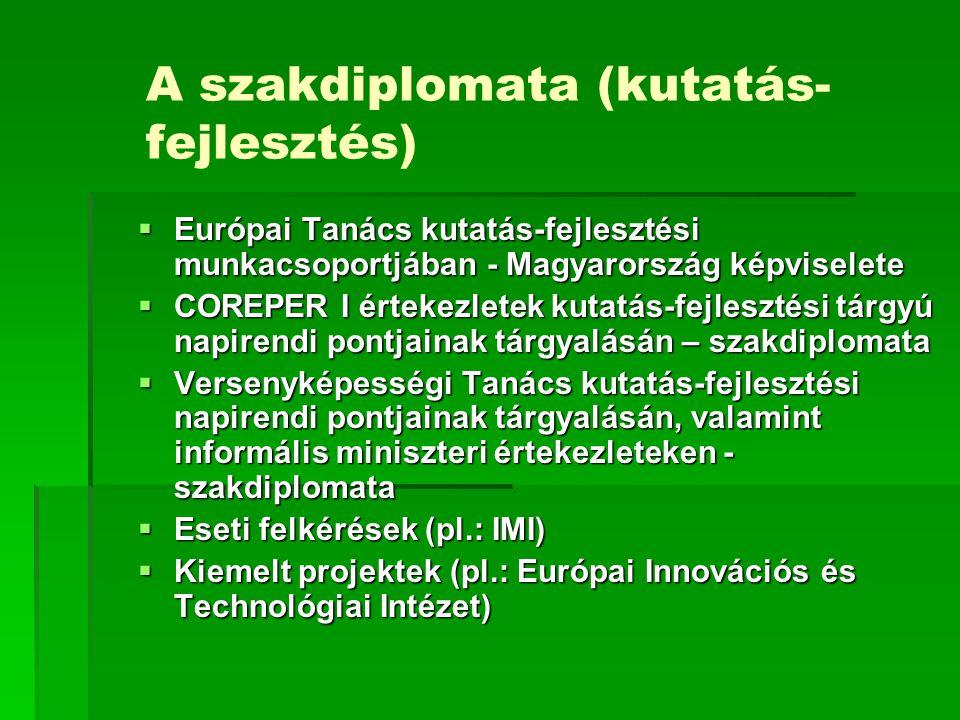 A szakdiplomata (kutatás- fejlesztés)  Európai Tanács kutatás-fejlesztési munkacsoportjában - Magyarország képviselete  COREPER I értekezletek kutat