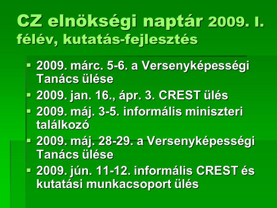 CZ elnökségi naptár 2009. I. félév, kutatás-fejlesztés  2009. márc. 5-6. a Versenyképességi Tanács ülése  2009. jan. 16., ápr. 3. CREST ülés  2009.