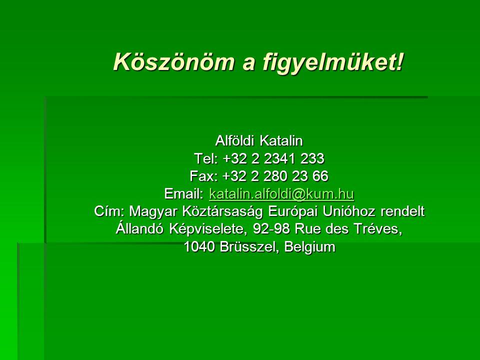 Alföldi Katalin Tel: +32 2 2341 233 Fax: +32 2 280 23 66 Email: katalin.alfoldi@kum.hu katalin.alfoldi@kum.hu Cím: Magyar Köztársaság Európai Unióhoz