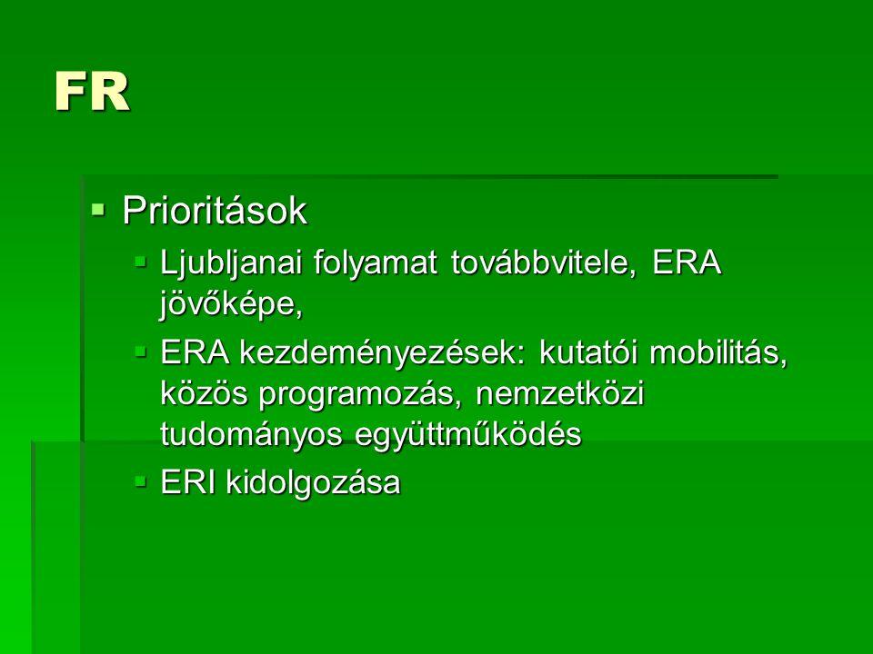 FR  Prioritások  Ljubljanai folyamat továbbvitele, ERA jövőképe,  ERA kezdeményezések: kutatói mobilitás, közös programozás, nemzetközi tudományos együttműködés  ERI kidolgozása